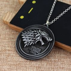 Inspired By TV 'Game of Thrones' Vintage Stark Wolf Pendant Necklace For Girls Boys -- Click image to review more details. (This is an affiliate link) #JewelryLover