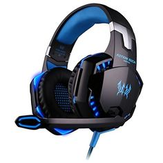 Gaming Headset, BenGoo EACH G2000 Professional Noise Canelling 3.5mm PC Stereo Headband Gaming Headphone Earphones with MIC Volume/LED Lights/Voice Control Microphone HiFi Driver For Laptop Computer Skype Online Chatting-Blue - www.computerlapto...
