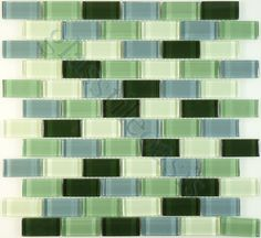 Millenium Products  Crystile Blends, Uniform Brick, Essence of Green Clear, Glossy, Green, Glass