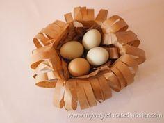 www.myveryeducatedmother.com Paper Bag Bird Nest #craftlightning Bird Nest Craft, Bird Crafts, Easter Crafts, Bird Nests, Spring Activities, Craft Activities, Preschool Crafts, Spring Crafts For Kids, Art For Kids