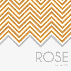 """Faire part de naissance chevron """"Rose"""" - enveloppes fournies"""