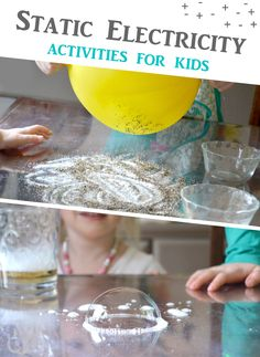 Creative static electricity activities for kids! Move salt and pepper around, bend water, and make bubbles move with static electricity. Fun kids science activity for homeschool or preschool. DIY science for kids, science experiments kids, science fair projects elementary, science for kids easy, science for kids preschool, static electricity experiments for kids