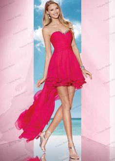 2015 New Asymmetrical High Low Hem Party Dress Sweetheart Beaded Chiffon Short Front Long Back Prom Dress EN288