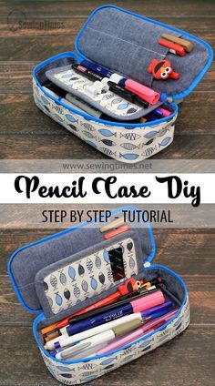 Pencil Case Tutorial, Pencil Case Pouch, Pencil Case Pattern, Sewing Hacks, Sewing Tutorials, Sewing Projects, Sewing School, Craft Bags, Sewing Accessories