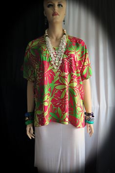 161fab10be376 Shaka Mamma Hawaiian Polynesian Woman's Butterfly Blouse Cover-up Shirt,  tunic - Made in
