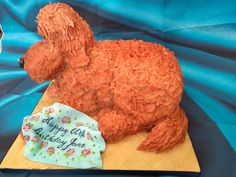 Carved vanilla sponge modelled on the recipients own pet! Vanilla Sponge, How To Make Cake, Special Occasion, Dinosaur Stuffed Animal, Carving, Joy, Pets, Wood Carvings, Glee