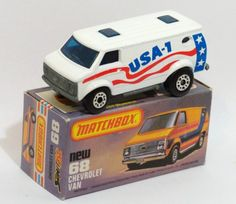 68c Chevy Van with White USA-1 68c Chevy Van with WHITE body and USA-1 stars and stripes, unpainted base, blue glass