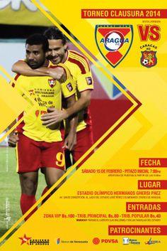 "Sábado 15/02: ""Aragua FC vs Caracas FC"" en Estadio Olímpico Hermanos Ghersi Páez >> http://fb.me/1mdR6UwGo"