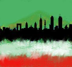 Mexico City Df Skyline Green White Red by Enki Art City Skylines, Mexico City, Cities, Wall Art, Green, Painting, Painting Art, City, Paintings