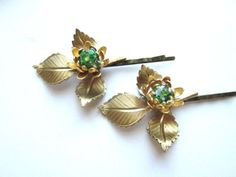 Gold Bridal #Hair Accessories Branches Leaves Green Bobby Pins Clips. $32.00, via Etsy.#bridalhair#wedding