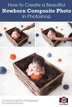 How to Create a Beautiful Newborn Composite Photo by SugaShoc Photography via iHeartFaces.com