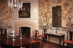 circa 1780 Chinese painted wallpaper, in a room in Colonial Williamsburg, VA, was previously hung in a house in Boston. image via Carlton Hobbs