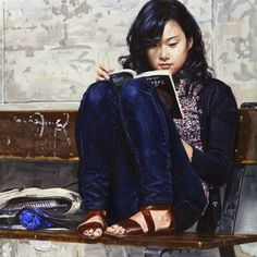Chinese girl reading, 2008  Michele Del Campo