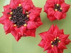 Holiday Cupcakes - Pointsettias