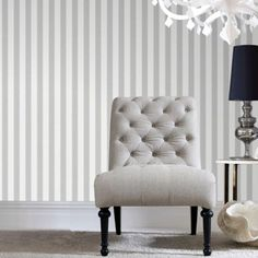 Ticking Stripe Soft Grey Wallpaper by Graham and Brown Striped Wallpaper Gray, Grey Pattern Wallpaper, Grey Textured Wallpaper, Grey Striped Walls, Soft Wallpaper, Wallpaper Ideas, Wallpaper Samples, Grey Stripes, Houses