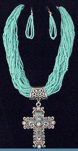 Southwest Blue Bead Multi Strand Necklace with Silvertone Cross Pendant & Earrings $32 @ www.whimzaccessories.com