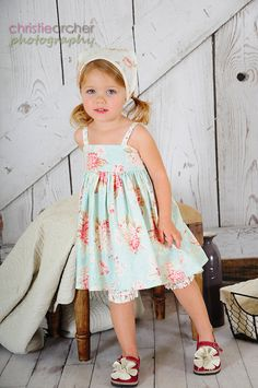 Three Piece Beautiful Easter Dress Bloomer and Kerchief by HMGGirl, $85.00
