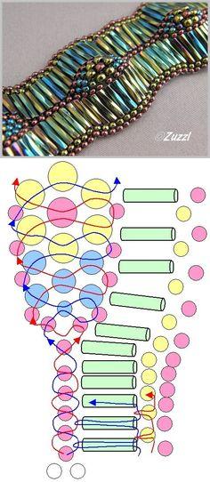 Wavy Bead Bracelet scheme. How to make a bracelet of glass beads | Laboratory household
