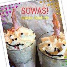 🦄 Einhornmilch? SOWAS! www.sowas-buch.de PS: Milch, Vanillecreme, rosa Lebensmittelfarbe, gefärbter Fondant fürs Horn, Dekoaugen, Schokosauce, Sahne #einhorn #einhörner #shake
