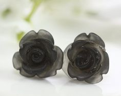 Frosted Black Rose Ear Posts Bridal Jewelry by TrinketHouse, $6.90