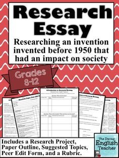 This is a fun and engaging research essay for your secondary English students to complete. Includes a rubric, peer edit form, and more!