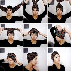 2018 Ankara Head Wrap Styles: Classic Ways To Tie Ankara Head wrap Styles - Scarf hairstyles - Hair Wrap Scarf, Hair Scarf Styles, Curly Hair Styles, Natural Hair Styles, Turban Mode, Hair Turban, Short Hair Headband, Tie A Turban, Turban Hijab