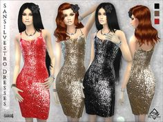 Sansilvestro Dresses by Devirose at TSR via Sims 4 Updates Sims 4 Dresses, Prom Dresses, Formal Dresses, Sims 4 Clothing, Female Clothing, New Years Eve Dresses, Sims 4 Game, Sims 4 Update, Sims Resource