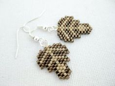Beadwork Petite Leaf Beadwoven Peyote Earrings Brown Seed Bead Beaded by MadeByKatarina for $12.00