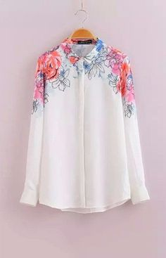 Floral White Chiffon Blouse