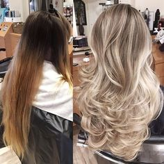 """For this color correction I applied Wella Blondor+20vol(6%)+Olaplex on the back of the head and Wella Blondor+40vol(12%)+Olaplex towards the top of the head. I applied a full head of heavy highlights with foils until reaching a pale blonde. To tone I used Pravana's express toner in pearl for 10 min. Followed with Olaplex No.2 for 10min. Shampooed and conditioned."" - @jackmartinsalon ❤️ #olaplex #blonde #hairlove #btcpics #modernsalon"