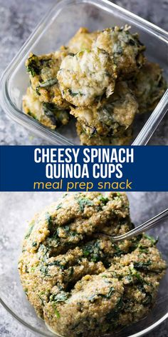 These cheesy spinach quinoa cups are a high protein, veggie-packed snack! Portable, freezer-friendly, and great for meal prep. Healthy Chips, Healthy Snacks, Healthy Recipes, Quinoa Spinach, Frozen Spinach, Quinoa Mix, Energy Bites, Vegetarian Cheese, High Protein