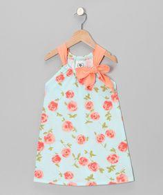 Aqua & Peach Floral Swing Dress - Infant, Toddler & Girls