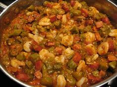Okra Tomatoes with Shrimp Recipe - Smothered Okra Tomatoes with Shrimp Recipe. A wonderful Cajun recipe filled with shrimp, tomatoes, -Smothered Okra Tomatoes with Shrimp Recipe - Smothered Okra Tomatoes with Shrimp Recipe. A wonderful Cajun recipe fi. Louisiana Recipes, Cajun Recipes, Southern Recipes, Shrimp Recipes, Cooking Recipes, Healthy Recipes, Shrimp Creole Recipe With Okra, Haitian Recipes, Vegetarian Recipes