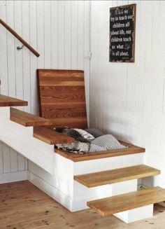 Under stairs storage idea.