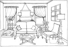 6 Perspective Drawing Option A Sofa Drawing Interior, Interior Design Sketches, House Colouring Pages, Coloring Book Pages, Design Food, Perspective Drawing, Point Perspective, Layout, Easy Drawings