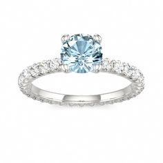 Aquamarine Engagement Ring --- simple, but a different color diamond