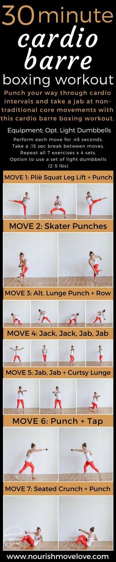 Cardio Barre Boxing Workout – full body workout under 30 minutes. Pair traditional barre/ballet movements and boxing cardio intervals with core movements. Upper body and lower body strength training with total body cardio. Light dumbbells optional; good o #acneandpregnancy,
