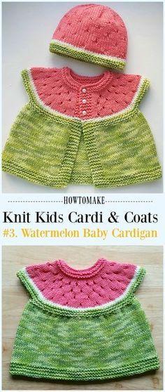 Watermelon Baby Cardigan Free Knitting Pattern - #Knit Kids #Cardigan Sweater Free Patterns