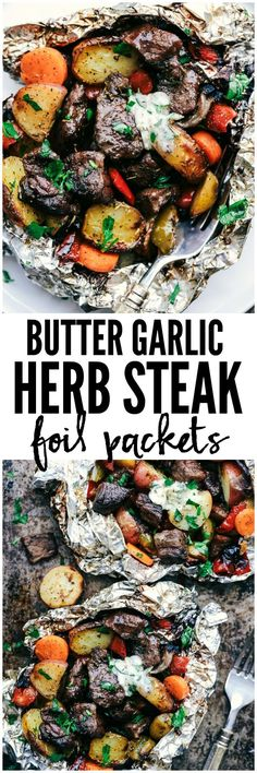Garlic Herb Steak Foil Packets Butter Garlic Herb Steak Foil Packets have melt in your mouth beef with hearty veggies that are grilled to perfection with butter that has garlic and herbs inside.Butter Garlic Herb Steak Foil Packets have melt in your mouth Healthy Grilling Recipes, Steak Recipes, Cooking Recipes, Vegetarian Grilling, Grilling Ideas, Barbecue Recipes, Barbecue Sauce, Cooking Foil, Steak Dinner Recipes