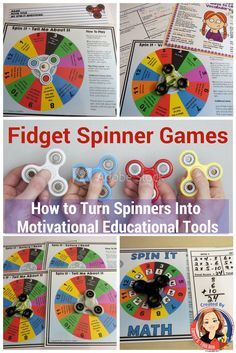 These interactive games show you how to use fidget spinners to practice basic math facts, vocabulary, reading comprehension skills, and social skills.  Plus a great back to school game for getting to know each other.  Turn the craze into a educational, motivational tool.  No spinners in your class? no problem!  They come with paper spinners and ideas for other uses.  Get them at Tammy's Toolbox  https://www.teacherspayteachers.com/My-Products/Category:290301