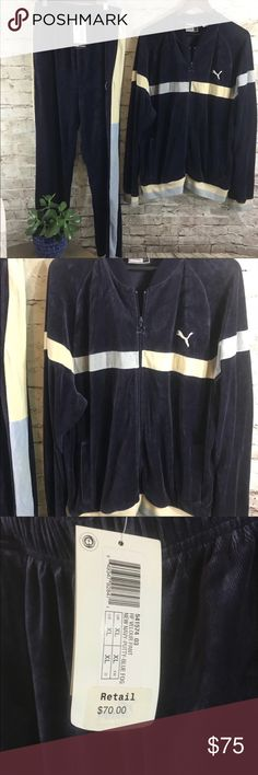 Vintage puma velvet track suit Pants ( xl) are new with tags and jacket was worn only once ( large) perfect condition . Amazing navy blue velour with with cream and baby blue inserts . Perfect vintage look in New and cozy suit Puma Pants Sweatpants & Joggers