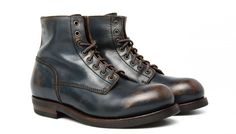 Buttero navy worn leather boots