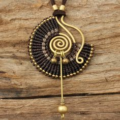 Tribal design necklace with waxed cotton weaving by cafeandshiraz, $38.00