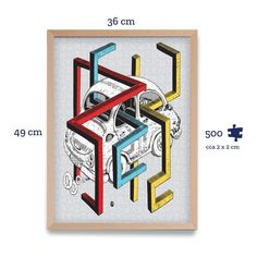 Do you enjoy 3D? Then you will certainly like the illustration by Marek Cina. He had hidden a little puzzle within the puzzle ;) Can you decode what is in the illustration? Assemble, have fun and train your brain! #puzzle #decoration #homedesign #giftideas #designergifts