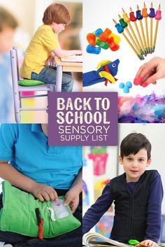Back to school Sensory Supply list!  #Sensoryprocessing #spd #backtoschool