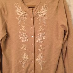 Beaded cool retro sweater Throwback beaded and embroidered beige wool sweater. Button down the front. rock it out, !!! or be demure… Lands End Sweaters Cardigans