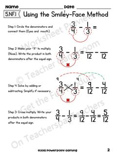 Adding Subtract Fractions with Unlike Denominators using the Smiley-Face Method Fractions Worksheets, Math Fractions, Multiplication, Adding Fractions, Teaching Fractions, Math Fraction Games, Gcse Math, Maths, Math Charts