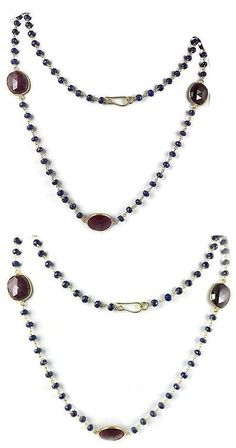 Other Sapphires 164408: Sapphire Corundum Beaded Chain 3 Pcs Ruby 24K Gold Plated Connector Necklace -> BUY IT NOW ONLY: $44.91 on eBay!
