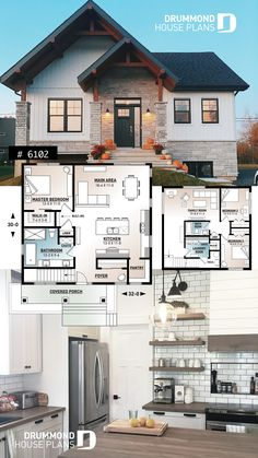 Ideal modern farmhouse plan for empty nesters Sims House Plans, House Layout Plans, Craftsman House Plans, House Layouts, Dream House Plans, Ranch House Plans, Dream Houses, House Plan Two Story, Cool House Plans
