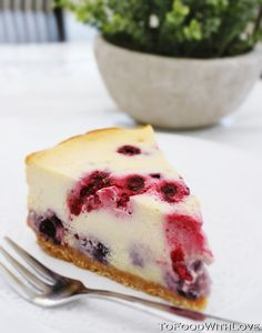 To    Food    with    Love: White Chocolate and Berry Ricotta Cheesecake